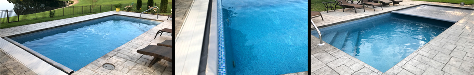 Viking Delray Fiberglass - Crystite Finish. Tile added to exposed automatic pool cover self.